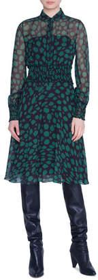 Akris Punto Animal-Print Ruffled Chiffon Shirtdress