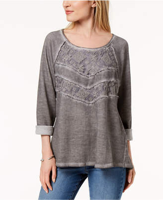 Style&Co. Style & Co Lace-Panel Sweatshirt, Created for Macy's