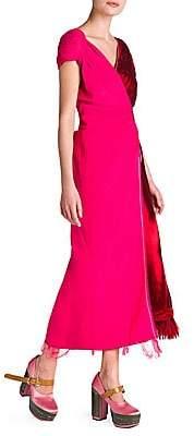 Marni Women's Velvet Satin Bicolor Faux Wrap Dress