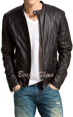Benjer Skins Men's Stylish Lambskin Genuine Leather Jacket 80 S