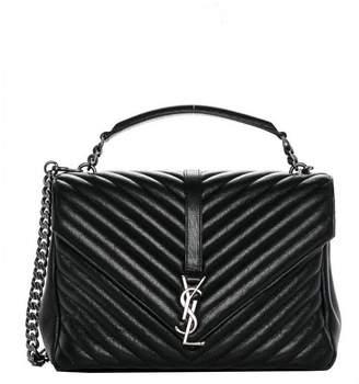 Saint Laurent Classic College Handbag Chevron Black