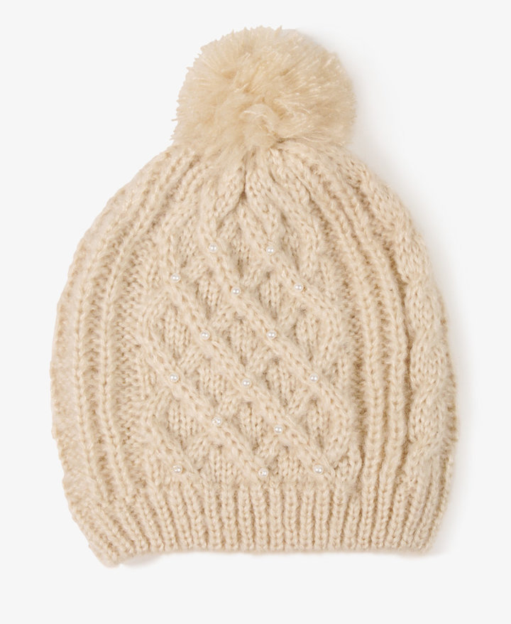 Forever 21 Pearlescent Cable Knit Hat