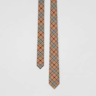Burberry Slim Cut Equestrian Knight Check Silk Tie, Brown
