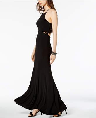 Xscape Evenings Lace-Back Halter Gown