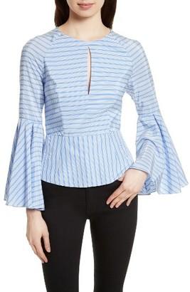Women's Milly Tie Back Stripe Peplum Top $365 thestylecure.com