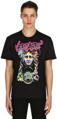 Versace Pop Medusa Print Cotton Jersey T-Shirt