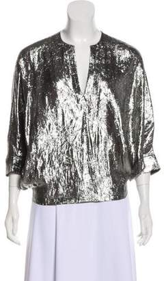 Michael Kors Silk-Blend Metallic Blouse w/ Tags