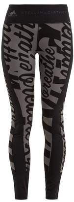 52787103976f0 adidas by Stella McCartney Writing Print Stretch Training Leggings - Womens  - Black Multi