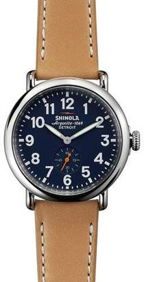 Shinola 41mm Runwell Leather Strap Watch, Brown/Blue $550 thestylecure.com