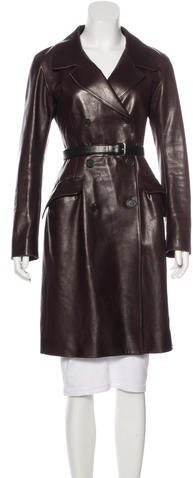 pradaPrada Knee-Length Leather Coat