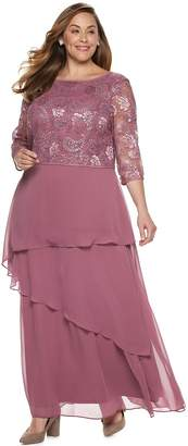 Le Bos Plus Size Tiered Chiffon Dress