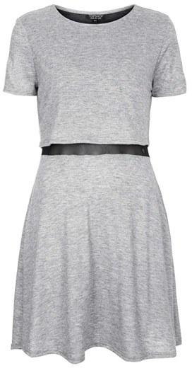 Topshop Mesh Inset Overlay Shift Dress