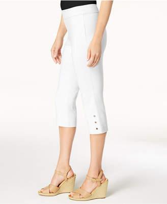 JM Collection Button-Hem Slim-Leg Capris, Created for Macy's