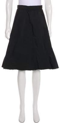 Lanvin Raw-Edge Knee-Length Skirt