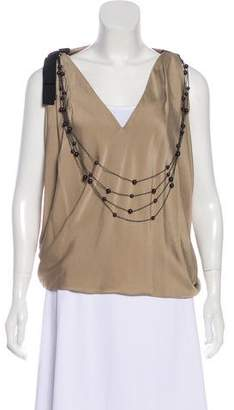 Robert Rodriguez Satin Embellished Top