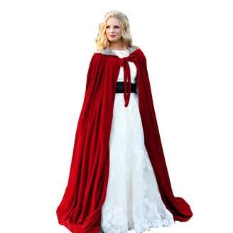 Portsvy Burgundy Womens Wraps Elegant Velvet Hooded Wedding Cloak Winter Long Cape (, 3XL)