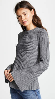 Autumn Cashmere Full Fashion Rib Sweater with Bell Sleeve