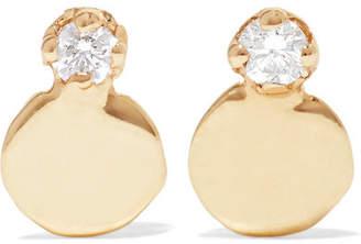 Wwake - Small Disc 14-karat Gold Diamond Earrings