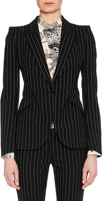 Alexander McQueen Peak-Lapel Single-Breasted Pinstripe Classic Blazer