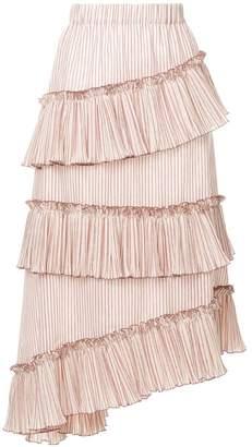 Lorena Antoniazzi striped asymmetric frill trim midi skirt