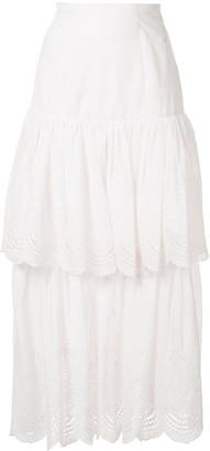 Bambah eyelet ruffle maxi skirt