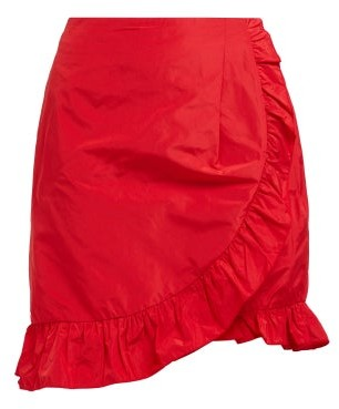 ALEXACHUNG Ruffle Trimmed Taffeta Wrap Skirt - Womens - Red