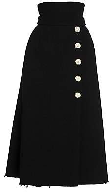 Dolce & Gabbana Women's Jewel Button Wool Midi Skirt