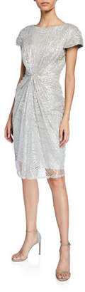 Tadashi Shoji Sequined-Lace Short-Sleeve Cocktail Dress