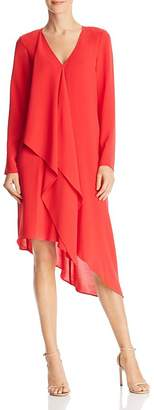 Adrianna Papell Asymmetric Gauzy Crepe Dress