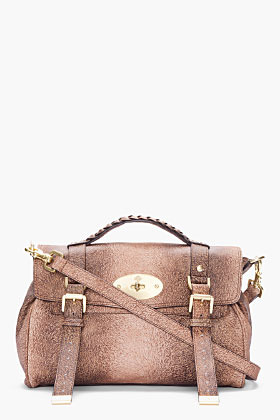 Mulberry brown leather Alexa Furry Printed bag