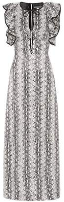 ALEXACHUNG Ruffled snakeskin-printed dress