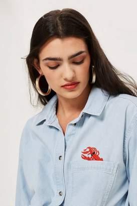 Topshop Embroidered Lobster Oversized Denim Shirt