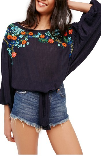 Women's Free People Up & Away Embroidered Peasant Blouse