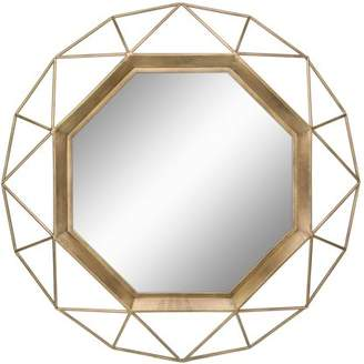 "STONEBRIAR COLLECTION Stonebriar Decorative Antique Gold 30"" Geometric Metal Frame Hanging Wall Mirror with Mounting Brackets"