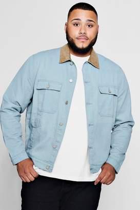 boohoo Big And Tall Cord Collar Denim Jacket