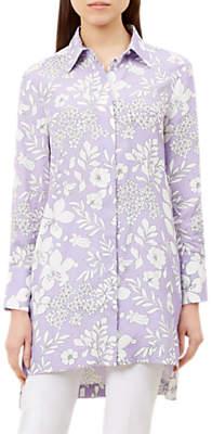 Hobbs Silvia Shirt Tunic Top, Lilac/White