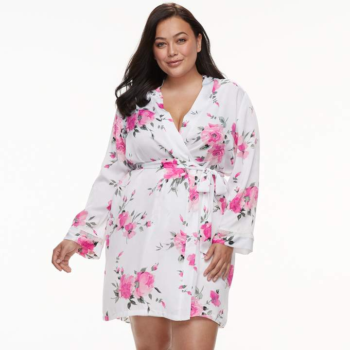 Plus Size Floral Wrap Robe
