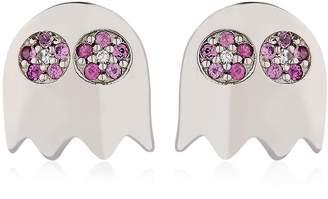 Level 256 Pac-Man Pink Sapphire Earrings