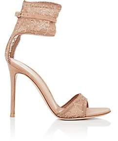 Gianvito Rossi Women's Halle Lace & Suede Sandals - Toast