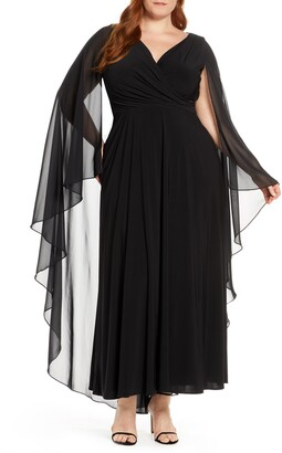 Xscape Evenings Side Ruched Long Sleeve Chiffon Gown