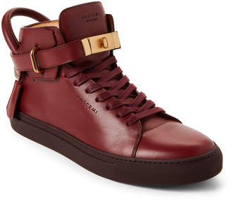 Buscemi Deep Red Box Leather Mid-Top Sneakers
