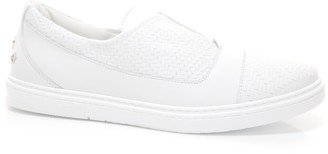 Jimmy Choo CASPIAN White Embossed Diamond Weave Leather and Sport Calf Slip On Trainer