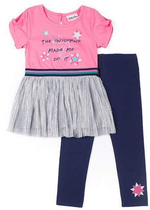 Little Lass 2-pc Unicorn Glitter Top Legging Set-Baby Girls