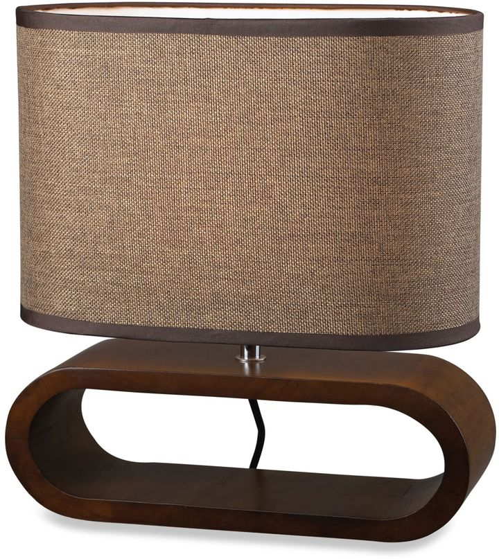 Bed Bath & Beyond Natural Colored Stained Wooden Oval Table Lamp