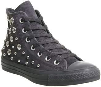 7014507e9eebd1 Converse Hi Leather Trainers Almost Black Multi Studio Exclusive