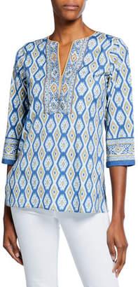 Bella Tu Quinn Ikat-Printed V-Neck Tunic