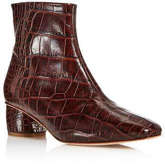 LoQ Women's Matea Almond Toe Croc-Embossed Leather Mid Heel Booties