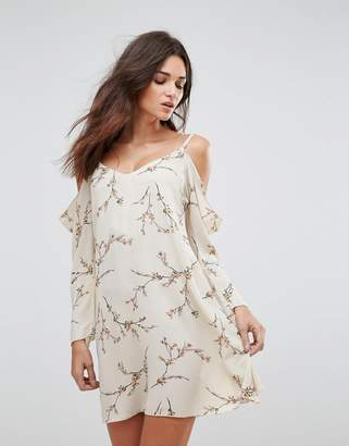 AX Paris Floral Cold Shoulder Long Sleeve Dress