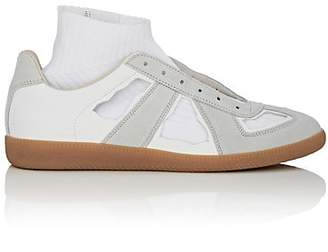 "Maison Margiela Men's ""Replica"" Cutout Leather & Suede Sneakers - Light Gray"