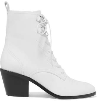 Diane von Furstenberg Dakota Lace-up Leather Ankle Boots - White